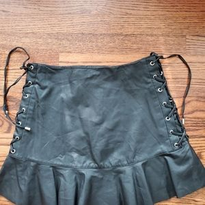 ZARA faux leather lace up skirt 6 28 new